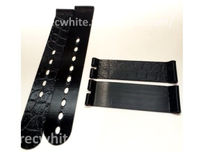 18 mm watch strap and buckle with leather texture