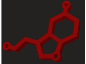 Serotonin molecule keychain