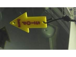 Arrow for hanging down in the garage for exact parking - Pfeil für die Garage als Parkmarkierung