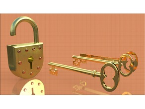 Padlock with Old Fashioned Key