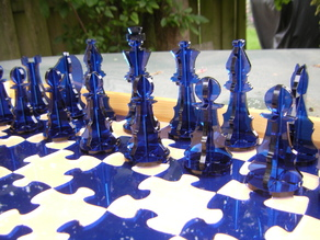 Chess set derivative with jigsaw chessboard