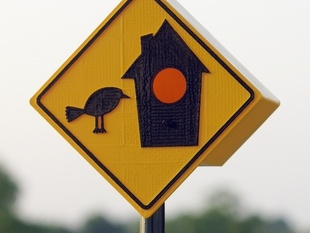 3D-Printed Birdhouse, A Sign (version 3)