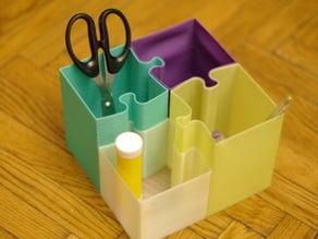 Puzzle pencil holder