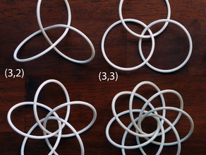 Three torus knots and a torus link