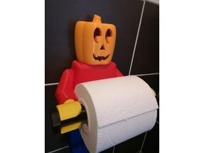 Halloween Pumpkin Head for Lego Man Toilet Paper Holder