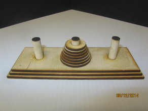 Wooden Tower of Hanoi.  Laser Cut.  Discs(7), Base and Posts.