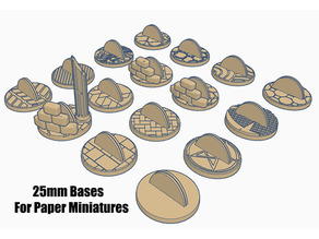 25mm Bases (x16) for Paper Miniatures perfect for Dungeons & Dragons or Warhammer