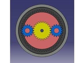 Experimental split ring/harmonic planetary drive