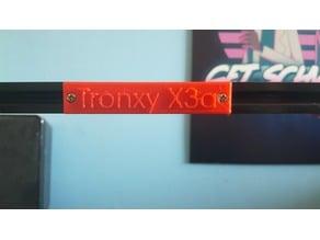 Tronxy X3a Name Plate