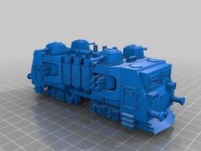 WARHAMMER 40K Armored train loco - 18 mm scale - 1:87 HO gauge w/ motor