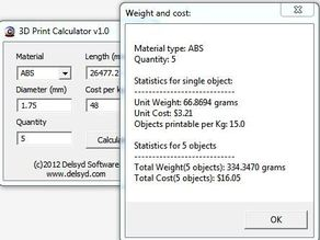 3D Printer Calculator