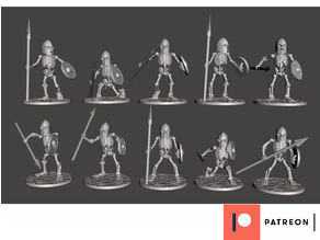 Skeleton Warriors with Spear & Shield x 10 Poses