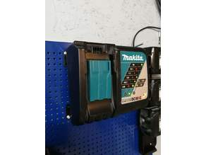 Makita charger holder for metric pegboard (needs magnets)