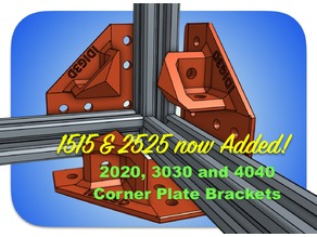 Extrusion Corner Plate Brackets for 1515, 2020, 2525, 3030, or 4040