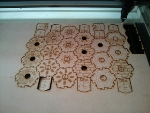 Lasercut Settlers of Catan board as DXF