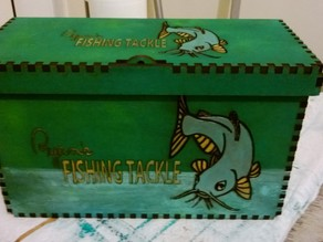 Fishing tackle Box for hooks, floats, bait, lures, spinners, reels, line