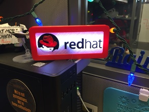 LED RedHat Shadowman Logo Sign powered by Adafruit Trinket and NeoPixels