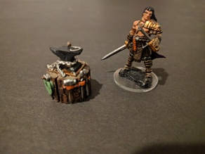 Adventurer's Camp - Portable Anvil and Tools - 28mm gaming
