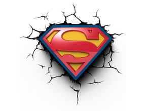 LOGO SUPERMAN LOGO AVEC FOND JAUNE, BLEU & NOIR