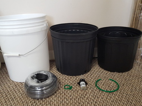 DIY hydro drip bucket with 3D printed drip ring