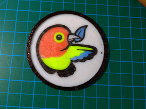 Multi color bower logo coaster