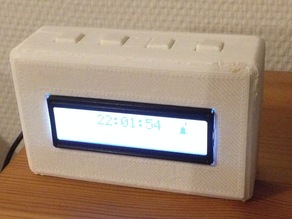 Box to hold an LCD screen with four printed buttons on top