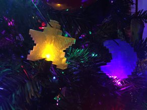 8 Bit Star And Moon Ornament