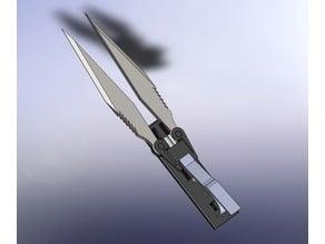 Closing scissor blade with trigger