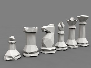 CHESS SET 3d LOW POLY STYLE