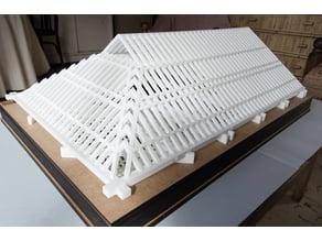 Maqueta del artesonado de par y nudillo de la Iglesia de San Miguel Bajo E: 1/20 m
