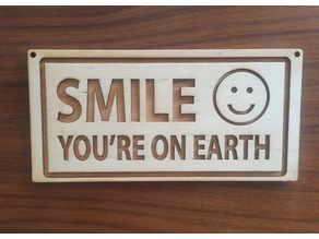 Smile - You're on Earth (Laser Etched Sign)