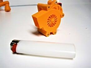 Miniature human powered blower fan