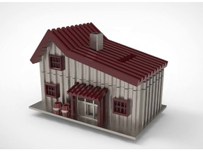 a wooden house coin bank