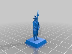 17th century officer, 18mm, low poly