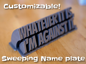 Sweeping 2-line name plate (text)