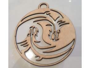 Dragon Yin Yang Laser Cut and printable