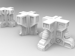 28mm Sci-fi building corners