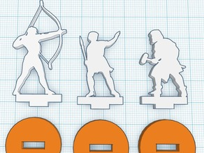 Silhouette Minis - Set 3 - Bow, Spear and Hammer