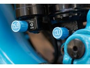 Schrader valve cap with air pressure mark