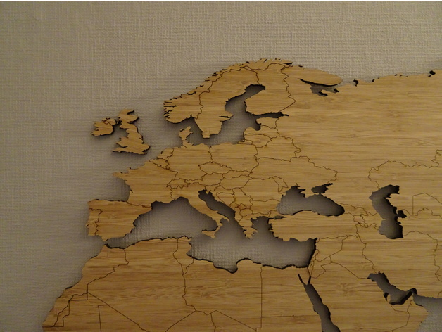 Laser Cut World Map.World Map Bamboo Lasercut Simplified Worldmap By Bazzz Thingiverse