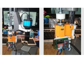 Microscope Support from cheap drill press with electronic adjustment.