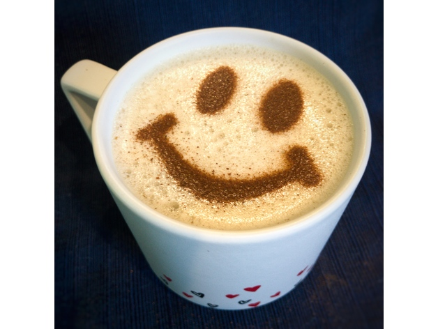 Coffee Stencil Smiley Face By Amarand Thingiverse