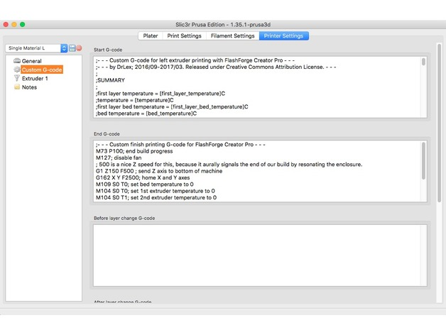 PrusaSlicer G-code snippets for FlashForge Creator Pro by