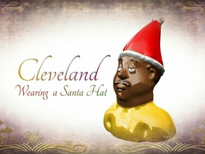 Cleveland Wearing a Santa's Hat