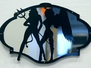 in mirror - hell and heaven angels laser cut