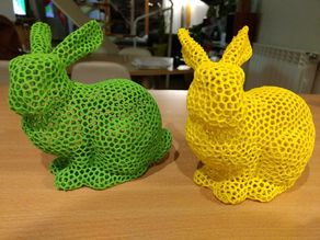 Easter Bunny Voronoi with support. Lapin Voronoi avec support