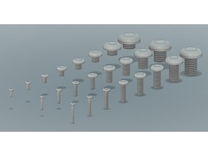 Metric Button Head Screw, f3d, stp and STL Files (M2-M10)