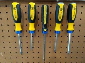 Pegboard screwdriver holder