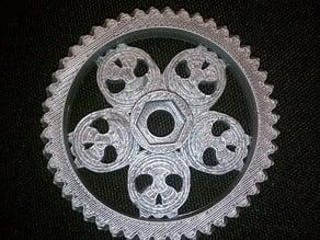 47t herringbone gear for Greg's Wade / Hack-a-Day logo skull mashup