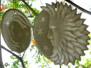 Lithopane Sun Moon Plaques